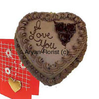 productThe pure chocolate bliss can be attained if you place an order for this 1 kg (2.2 lb), Heart Shaped Chocolate cake. With a customized message of your own, this cake can do wonders to enhance and strengthen your happiness. The beautiful cake chocolate chain on the edges of the cake with dark chocolate roses add to the appearance of this lovely cake. Place an order for this luscious cake and add wings to your dreams.