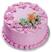 "productThe gorgeous light pink cake with contrasting orange flower with green leaves on one edge of the corner gives this cake an alluring appeal. The baker seems to have weaved in the magic from the strawberries to give it this color. It is designed in a traditional way and can be ordered for any reason. From ""I miss you' to 'Get well soon', this 1 kg (2.2 lb) beauty is handy for all occasions that are celebrated."