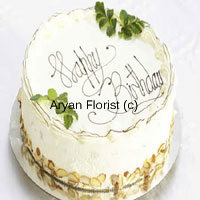 productSerenity through a cake is possible with this 1/2 kg (1.1 Lb) white cake, which makes saying sorry a bit easier. Can be sent to anyone on any occasion. With a personalized message on this yummy looking butter scotch cake, you can not only send good wishes but also tranquility of your heart! With the green leaves and almonds on the edges, makes it a rich choice for people with a generous heart.