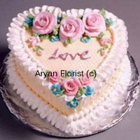 productThis 1 kg (2.2 lb) cake is tailor made for the love birds of the city! The heart shaped vanilla cake is so beautifully decorated with edible flowers that you will think twice before cutting it. The embellishments are in different color which are contrasting to the base and display a thrust of emotions one is feeling. With a passionate message, you can win over any heart. The small and big flowers compliment each other, making this a wonderful opportunity.
