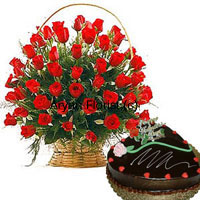 productExpress your love with a big basket of 50 red roses and a one kg (2.2 lbs) heart shaped chocolate truffle cake. 50 long stem red roses have been handpicked to arrange in a cane basket. Made more beautiful with fillers and green leaves, this bouncy arrangement gets delivered along with a one kg heart shaped chocolate truffle cake. The sweet fragrance of the roses and sweetness of the cakes is easy to melt your sweetheart's heart!