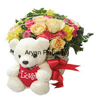 This charming combo of a basket of 24 roses in different colours and a cuddly teddy bear is a sweet choice that creates sweeter memories. Red, pink, yellow and orange roses are bundled together to create a rounded bunch. Green leaves pop up in between to create a beautiful design. The teddy bear, as light and soft as a white cloud adds extra charm. Order it for your beloved to celebrate any occasion.