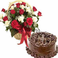 This combo of 24 roses and a 1 kg (2.2 lbs) chocolate cake is a delightful gift. 24 mixed coloured roses are handpicked from the farm, put together in a lovely cane basket and wrapped with red fancy ribbon. The roses in different colours pop out in a random arrangement, while fillers and green leaves add to the beauty of the flowers. The chocolate cake is freshly and specially baked at the finest gourmet bakery with love. Order this for special occasions � birthday, anniversary or even a welcome-back gift.