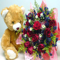 productSurprise someone by ordering this special gift of 12 red roses in full bloom and a medium sized teddy bear. The roses are brought together with fresh fillers and greens. The fancy wrapping around the bouquet makes it more attractive, while the teddy sits cute next to the flowers. Surprise your friends and loved ones by sending these to their office or home.