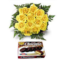 productA combo of sunshine and sweetness - gift these 12 yellow roses as bright as sunshine to your friends, family or colleagues. The bouquet gets delivered along with a box of chocolates. The roses are handpicked and delicately put together in a round bunch with green ferns and wrapping. Each rose is placed in a manner that its beauty is visible.