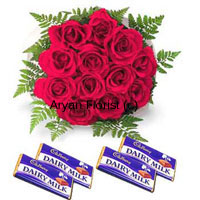 Bunch Of 12 Red Roses With Assorted Chocolates Bars