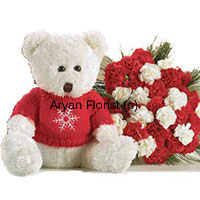 productThe cute medium sized teddy bear when comes with wondrous twenty four red and white carnations the light in the eyes shine brighter. You will be more than happy when you see the receiver being happy and on cloud nine to get this awesome combination. The receiver will be bewitched by the charm of these fresh flowers. The teddy bear in the same white and red combination acts as the antagonist and makes you a maestro! Order Now!
