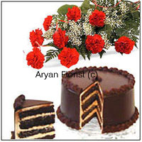 productBirthdays or anniversaries, this combo of a dozen beautiful carnations and 1 kg (2.2 lbs) chocolate cake is sure to surprise and impress. The long stem carnations are put together to make a bouquet with seasonal fillers. Arranged in a stylish manner, the carnations and fillers create a beautiful drama of colour. The 1 kg chocolate cake is baked with love by the best bakers in town. Make an absolutely sweet impression with this one.