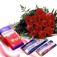 productWhat expresses love more than red roses? A bunch of 12 roses and an assortment of chocolates combined to create a sweet gift. A heavenly combination, the red roses are designed into an elegant and classy bouquet with some green leaves and ferns, and the chocolates are specially chosen to form a delicious blend. Send it to the love of your life on special occasions.