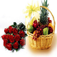 productThis combo of a dozen red roses and a 5 kg (11 lbs) fresh fruit basket is a pretty healthy option to express wishes for various occasions. Fresh seasonal fruits are handpicked from the farms and filled in a cane basket. To add to the beauty, the basket is stylishly decorated with satin ribbon bows. Each of the 12 roses is spread out in the bouquet so that it is clearly visible. A combo of fresh fragrant roses and sweet juicy fruits make for a perfect get well soon gift.