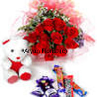 productWhat's the way to your lovely lady's heart? Try this combo of a bunch of 12 red roses, a selection of chocolates and a cute teddy bear. The roses are beautifully bundled up into a bouquet that is wrapped with fancy paper. The best of delicious chocolates and the cutest teddy bear make a sweet and lovely surprise. Order it and brighten up your friends and family's day on all occasions.