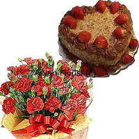 productA lovely display of 24 fresh carnations and a 1 kg (2.2 lbs) heart shaped butterscotch cake makes this combo a deliciously beautiful gift. Stunning fresh blooms of carnations are bundled up with seasonal fillers and wrapped with fancy paper. A heart shaped butterscotch cake fresh from the oven is neatly packed and delivered with the flowers. This one is a good choice for wishing on personal and professional occasions.