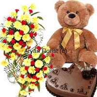 productWhen something little is not an option, go for this massive combo. A three feet tall arrangement of flowers, one kg heart-shaped chocolate cake and a two feet tall teddy bear can't fall short to impress. The bouquet is created with fresh assorted flowers; the cake is baked by the most talented bakers and the huge two-feet tall teddy bear grabs everyone attention. Order it for your sweetheart on that special occasion.