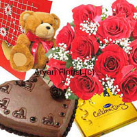 The more the merrier! This combo comprises a bouquet of 12 red roses, a small cute teddy bear, a box of Cadbury's Celebration, 1 kg heart shaped chocolate cake and a free greeting card. What more can one want to express warm wishes to the loved one? Order this combo for special occasions such as birthdays, anniversaries or even proposals.