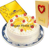 productAs sweet as it can get, this combo of one kg pineapple cake and a box of Cadbury's Celebration gets delivered with a greeting card. Perfect for sending warm wishes to friends, family and professional contacts with some sweetness on all occasions. The cake is neatly packed in a fancy box.