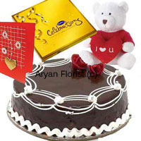 productOrder this amazing assortment of a 1 kg truffle cake, a box of Cadbury's Celebration, an I-love-you teddy bear and a greeting card. Impress the love of your life with this selection of gifts on special occasions such as birthday, anniversary, welcome-back or other special occasions. We deliver the package making sure your feelings are gift packed beautifully.