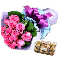 productKeep it pink! Keep it sweet! A lovely bouquet of 12 pink roses and a box of 16 Ferrero Rocher chocolates will surely make your family and friends feel special. Handpicked pink roses are bunched up with fresh green leaves and held together with fancy satin ribbon. Ferrero Rocher chocolates are neatly packed in a box. Order this for multiple occasions � birthday, anniversary, welcome-back, get-well-soon or bon voyage � and make it special.