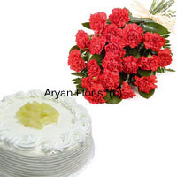 productDoes a dozen pretty carnations and a 1/2 kg pineapple cake fancy you? Beautiful fresh carnations chosen by expert florists are put together in a simple and elegant arrangement. It is wrapped with fancy wrapping and held together with a ribbon. A freshly baked 1/2 kg pineapple cake is packed in a decorative box. Order this to send wishes to personal and professional friends.