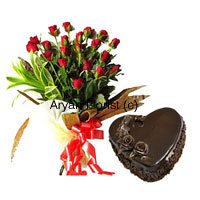 Celebrate with a bunch of 24 red roses and a 1 kg heart-shaped cake. Arranged with the fresh handpicked roses, our experts have designed this bouquet in a style that brings out the beauty of each of the blooms. Fresh greens leaves and fillers on one side add to the beauty of the long stem roses, completed by a fancy ribbon decoration. The chocolate cake is fresh out of the oven, baked by the best bakers in town. This one is an absolute favourite for all occasions.