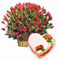 productMake it a moment to treasure and remember with this combo of a bouquet made out of 200 red roses and a 1 kg heart-shaped strawberry cake. The garden fresh roses stand fresh and bouncy in the abundant bouquet in a pretty cane basket. Along side we pack a freshly baked heart-shaped strawberry cake. One of the best gifts to express your love.