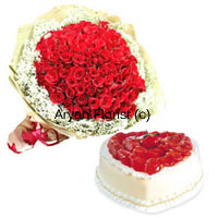 productThis combo boasts of a magnificent arrangement of 100 red roses and a 1 kg heart-shaped pineapple cake that the recipient will forever remember. A selection of the best 100 roses is put together, surrounded by fillers and green leaves and styled with fancy decoration. The heart-shaped cake is freshly baked and packed before delivery. Express your love to your sweetheart with this marvelous combo.