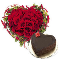Heart Shaped Arrangement Of 40 Red Roses Along With Heart Shaped Chocolate Cake