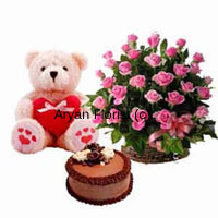 productWow your beloved with this combination of a basket of 24 pink roses, a 1.5 feet teddy bear and a 1 kg chocolate truffle cake. Brighten up your lovely lady's day with these impressive bright pink roses which is put together in a lovely cane basket. Add to this the cutest teddy bear that sits 1.5 feet tall and a fresh chocolate truffle cake-from-the-bakery . Order this lovely surprise.