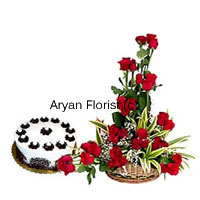 productSend your wishes with a basket of 30 red roses and a half kg cream cake. The basket of roses is designed in the most stylish fashion along with fillers, leaves and add ons in a cane basket. It can be elegantly placed on any tabletop. The cream cake adds a yummy surprise. Order this combo to send warm wishes to your friends, family or business associates on any occasion.