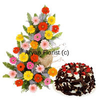 productAll sugar and sweet, this combo comprises a bouquet of 25 mixed coloured gerberas and a 1kg chocolate crisp cake. Red, yellow, pink and orange garberas play a game of colours along with green leaves and fillers. The bouquet is completed with fancy embellishments and wrapping. The 1 kg cake adds sugar to the sweetness of the flowers. Order this for personal and professional occasions.
