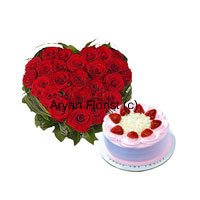 Whether you are looking for a gift for birthday, anniversary or any other special occasion, this combo is a perfect choice. A heart-shaped arrangement of 40 red roses is perfectly created to look bright and pretty. Along with it, a 1/2 kg strawberry cake adds sweetness to the warm wishes. Send this on festivals, occasions and events to make your friends and family feel special.