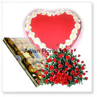 Let your loved ones know how much you love them. This combo includes a basket of 100 red roses, handpicked by expert florists and creatively put together with green leaves to create a beautiful bouquet, a box of 24 Fererro Rocher chocolates nicely packed and a 1 kg (2.2 lbs) strawberry cake baked by the best bakers in town and fresh out of the oven. This one is an absolute favourite for all occasions.