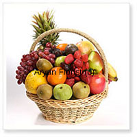 productSend a basket full of fruits for those who like everything healthy and fresh. This basket includes 4 kgs (8.8 lbs) of nature's sun kissed juicy fruits. As assortment of seasonal fresh fruits are handpicked and put together in a pretty cane basket. Send it as a get well soon gift, a welcome back present or even on special occasions such as birthdays and anniversaries.