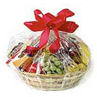 This delicious fruit basket reminds of beautiful fairy tales that everyone loves to read. Wonderfully packed with different fruits all in a bamboo basket, covered with a thin sheet and is tied with red satin ribbon, this aesthetic beauty adds to nutritional value as well. This can be the best present for all age groups giving them a special expression of affection and care. It is a Basket of assorted fresh fruit weighing 3 Kg (6.6 Lbs).