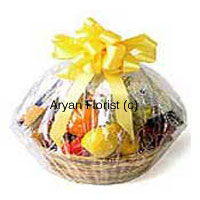This basket of various fruits contains Assorted Fresh Fruit weighing 3 Kg (6.6 Lbs). All seasonal fruits combined at one place wrapped in a fine sheet are tied with a yellow satin ribbon to catch one's attention. It is one of the exclusive ranges of fruit baskets one longs for, comes as a best possible gift for your dearest people. Good for health and when cutting with a knife, it spreads an aura in the room