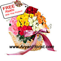 product100 roses in different colors come together in this basket to create a garden full of joy and brightness. The basket is delivered along with a free Rakhi. The roses are handpicked by expert florists and put together in a creative fashion. The pretty cane basket is further decorated with soft satin ribbon. Order this for your brother on Raksha Bandhan and celebrate with love.