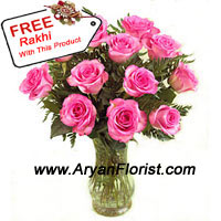 productA beautiful bunch of 12 pink roses is put together in a glass vase and stylized with ferns in between. The flowers are sent along with a beautiful Rakhi crafted with decorative beads and trinkets, truly embodying the bond shared between brothers and sisters. Send this combo to your brother and make him feel special on Raksha Bandhan.