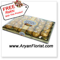 product24 pieces of these Italian Ferrero Rocher chocolates are the urban way of saying 'Happy Raksha Bandhan'. This urban way is delightful as it is chocolaty and nutty. Each golden ball of this chocolate pack will mesmerize you and you will thank your sister for this wonderful annual gift, that she chooses to present on this Raksha Bandhan. A free decorated Rakhi with this pack will simplify the celebration to make it traditional. This blend of urban and traditional is worth this Rakhabandhan.