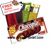 productThinking of presenting something along with the flowers, to your sister? We have a pack of chocolates that include 4 Cadbury's Temptations and one pack of chocopie, that is an ideal accompaniment with a bunch/bouquet of flowers on this Raksha Bandhan. Present this to your sister who loves chocolates, which will not only make her happy but it will sweeten your bond with her. You also get a free Rakhi with this pack of chocolates to have a jubilant day.