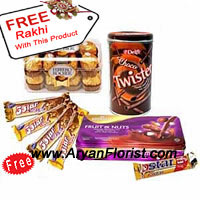 product5 Five Star Chocolates For Price of 4, 16 Pieces of Ferrero Rocher, A Box of Cadbury's Fruit And Nut And A Box Of Choco Twisters With A Free Rakhi is all you need to please your brother on this Raksha Bandhan. Send these chocolates as accompaniment to The Flowers, and you will see magical flow of emotions churning into your brother's heart. The free Rakhi with this pack of chocolates will enhance your festivities! Order Now!