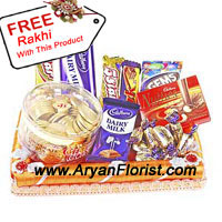 productThese assorted packed chocolates will very eloquently convey the care and admiration you have for your brother/sister. This is where we feel that actions are indeed louder than words. This Raksha Bandhan reflect your love through these chocolates that makes you relish the festival with the rest of the family too. A free Rakhi that you get with this pack is an addition to your positive actions. Order now along with flowers and see the mighty effect.