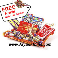 productWhen sending flowers to your brother on this Raksha bandhan, don't forget to send this pack of assorted chocolates too that will infuse happiness and love. It is on this day that through gifts you can nurture your relation and give it strength that no other relation has. To make it mightier, this pack also comes with the free Rakhi, without which this festival is meaningless. So order this now with flowers!