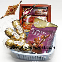 productSavour the festival of Raksha Bandhan through these 3 Small Packs of Ferrero Rocher (3 pieces in each pack) that are accompanied with two Boxes of Imported Vochelle Chocolate ( Subject to availability, in case of non availability, a chocolate of same value will be delivered) that will bring Chocolates galore. Let happiness and positivity flow through this pack of sweetness. With this in mind, gift this pack of chocolates to your sibling and enjoy the festivities of Raksha Bandhan. (Order this product with flowers)