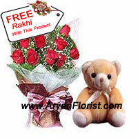 productGifting this bunch of 12 Red Roses on Raksha Bnadhan is the righteous thing to do to show your respect and admiration towards your sibling. You may give this to your elder brother to show how much you respect and admire his actions that are taken to protect you from all evils. These red roses comes with fillers combined with a cute teddy bear, showing tenderness and affection. The free rakhi with the combo, completes it!