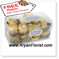 product16 pieces of Italian Ferrero Rocher , are certainly one of the best gifts to give on this Raksha Bandhan as they are royal treat for the siblings who indulge in chocolates together. Enjoy the sixteen pieces with delight and celebrate your raksha bandhan with pride. You get a free rakhi with this pack to tie on your brothers wrist as a pious thread and emphasize on the vows . Place your order now and enjoy your special festival!