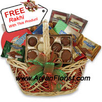 productAbundance of chocolates on the festival of Raksha Bandhan is a flawless gift to give your sister so that she can relish the chocolates that reflects love and eternal bond between the two of you. This medium sized basket of assorted chocolates will allure you to buy and will captivate your sister's heart when she will eat these yummy sugary chocolates. Show your love through this reusable basket and also get a free Rakhi with this medium sized basket.