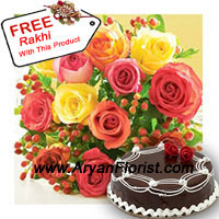 productThe very urban , yet no so clich�d way of showing your love is through these mixed colored roses with half kg.(1.1 lbs) Truffle cake. Needless to say, the cake will be the mithai on this Raksha Bandhan that will accompany with free Rakhi that you get with this pack. The 12 mix colored roses are given to show the mixed emotions of brother sister duo, that are a relentlessly present in this delicate relation.