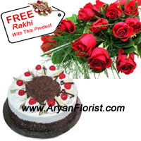 product12 Red Roses with the creamy black forest cake comes to you on this Raksha Bandhan. The duty of a brother to protect his sister from the evils and the love of a sister to keep her brother in her prayers all the time, is the significance of the festival. This is truly reflected by this combo of roses and 1 kg Black Forest cake. The free rakhi enhances the respect and significance of the festival.
