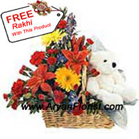 productA perfect way to surprise your baby sister who is away from you is this lovely looking teddy bear that has innocent appeal to it. This package of assorted flowers come in a basket and are of various colors with a free Rakhi. The florists has handpicked them to create this beautiful bunch just for you to be presented on this Raksha Bandhan. This is an apt way to say you are always there for your sister. Order now and surprise!