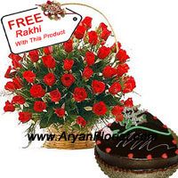 productBasket of 50 Red Roses that come with seasonal fillers and 1 kg (2.2lbs) heart shaped chocolate cake is an affirmation towards this relationship of vows and prayers. It shows dedication, love and purity towards one another. So gift this to your brother/sister, and infuse zeal to be more happy and affectionate with each other. This pack comes with a complimentary Rakhi to be tied on your brother's wrist. With great care and profound love order this now!