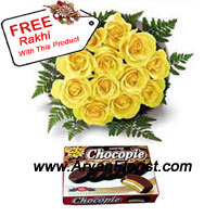 product12 Yellow roses that radiate warmth, just like the Sun and purity, like the existence of the Sun that is never questioned! It is symbolic of sibling love that is declared through the sweetness of the pack of Chocopie and warmth of yellow roses. The vows that a brother makes are reinforced when you give this wonderful combo of surety and truthfulness, just like the Sun rises positively, and is true to its light. You get one free Rakhi with this.
